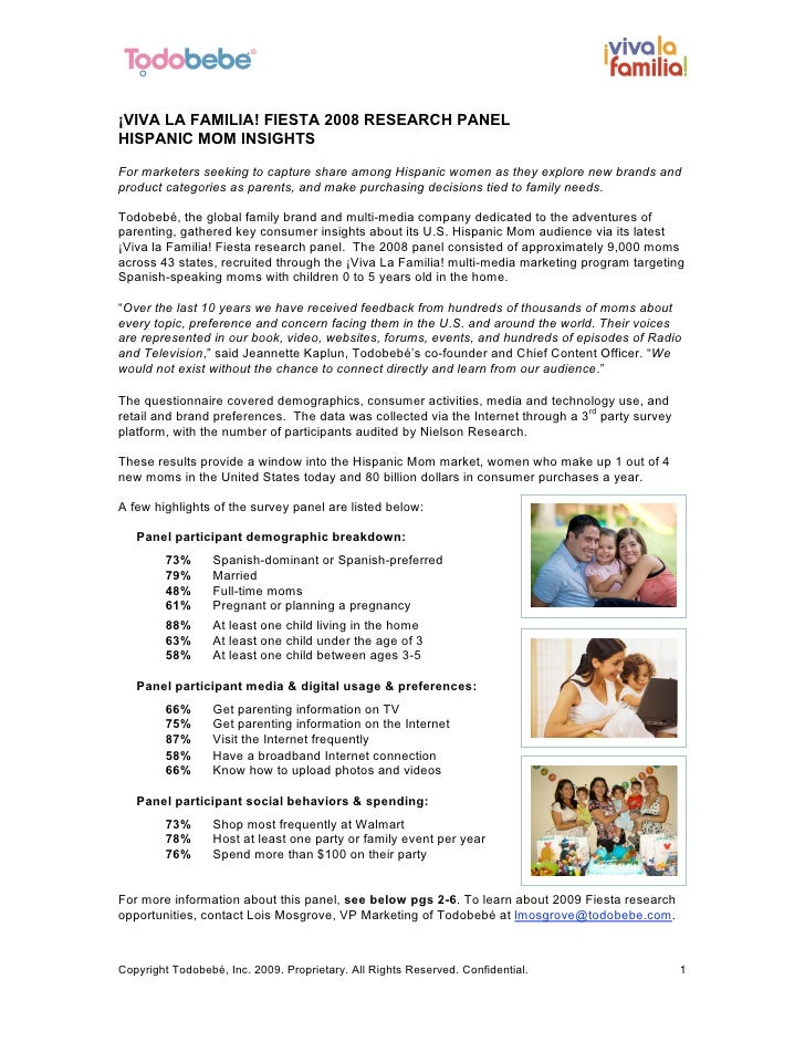 ¡VIVA LA FAMILIA! FIESTA 2008 RESEARCH PANEL HISPANIC MOM INSIGHTS  For marketers seeking to capture share among Hispanic ...