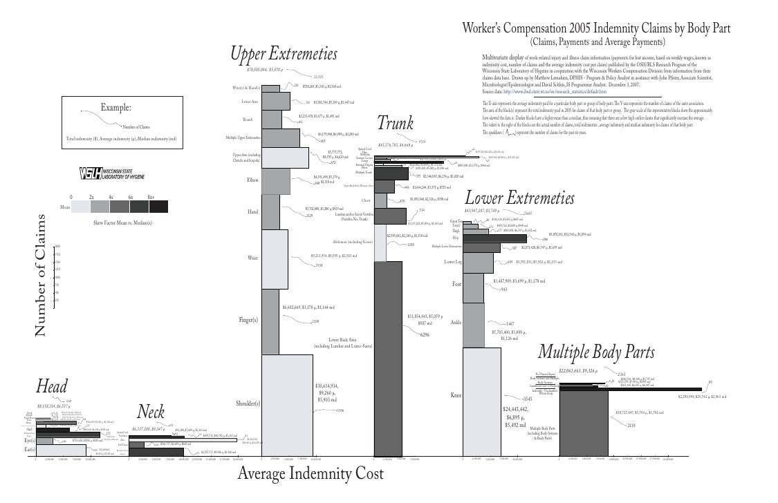 Multivariate Work Related Injury Illness Chart Workers Compensation 2005 Indemnity Claims By Body Part