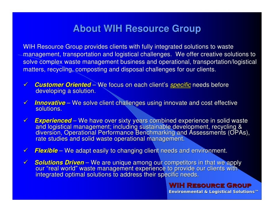 WIH Resource Group OPA Overview Slide 2