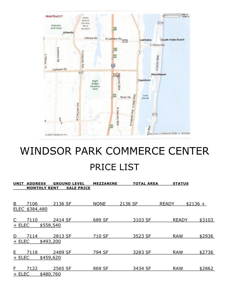 WINDSOR PARK COMMERCE CENTER                             PRICE LIST UNIT ADDRESS   GROUND LEVEL   MEZZANINE        TOTAL A...