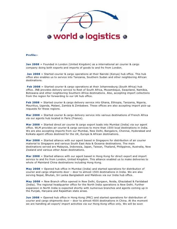 World Logistics Our Company