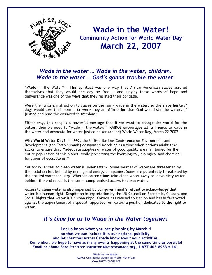 Wade in the Water!                                 Community Action for World Water Day                                   ...