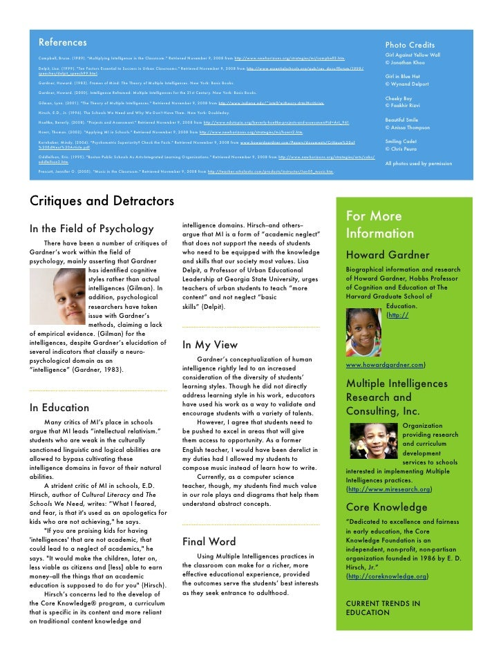 multiple intelligences paper This page provides general background information about the theory of multiple intelligences, practical strategies for using the theory in learning and teaching, and.