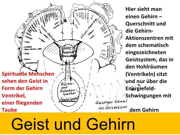 Hier sieht man einen Gehirn – Querschnitt und die Gehirn-Aktionszentren mit dem schematisch eingezeichneten Geistsystem, d...