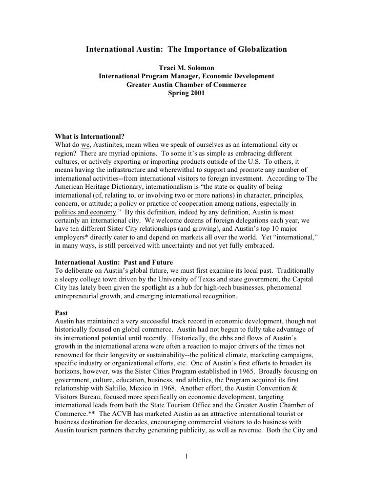 International Austin: The Importance of Globalization                                    Traci M. Solomon                I...