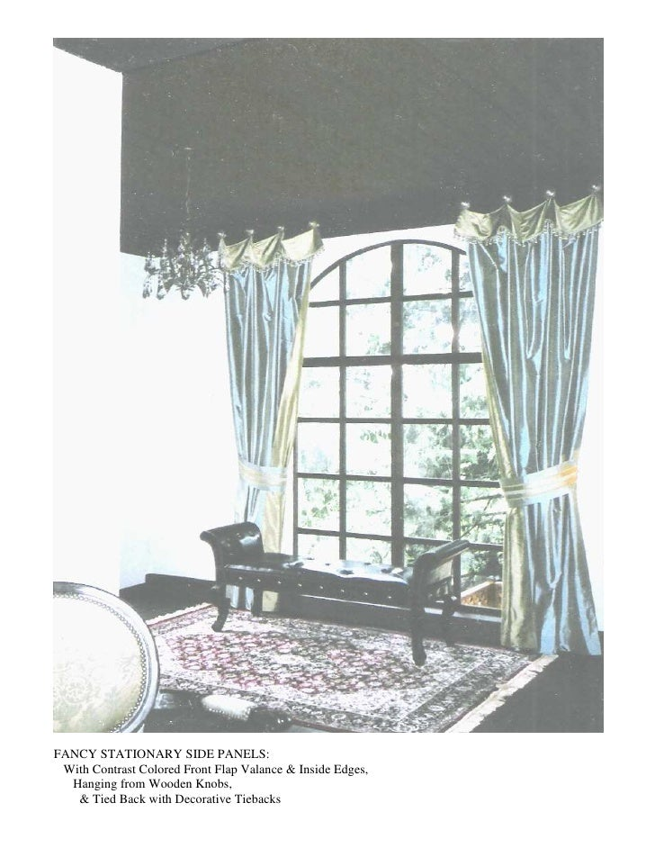 FANCY STATIONARY SIDE PANELS:  With Contrast Colored Front Flap Valance & Inside Edges,   Hanging from Wooden Knobs,    & ...