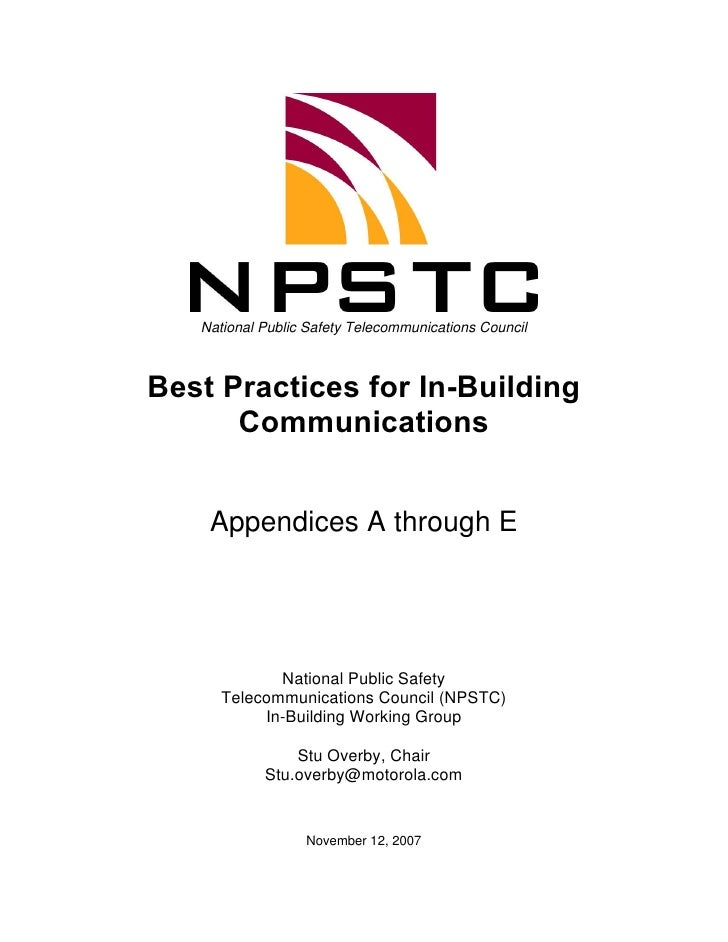 National Public Safety Telecommunications Council    Best Practices for In-Building       Communications       Appendices ...