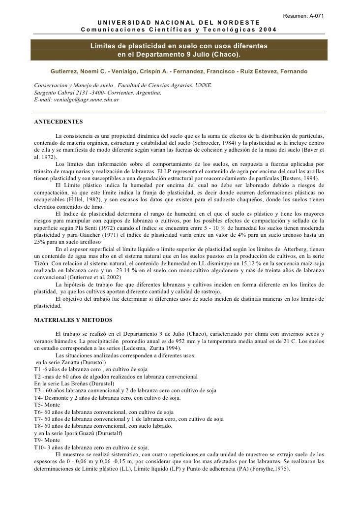 Resumen: A-071                       UNIVERSIDAD NACIONAL DEL NORDEST E                    Comunicaciones Científicas y Te...