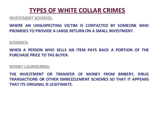 white collar crime essay White collar crimes essay examples 5 total results white-collar crime in conventional criminology 1,786 words 4 pages the significance of the white-collar crimes 582 words 1 page an overview of the discrimination in the justice system of the united states 519 words.