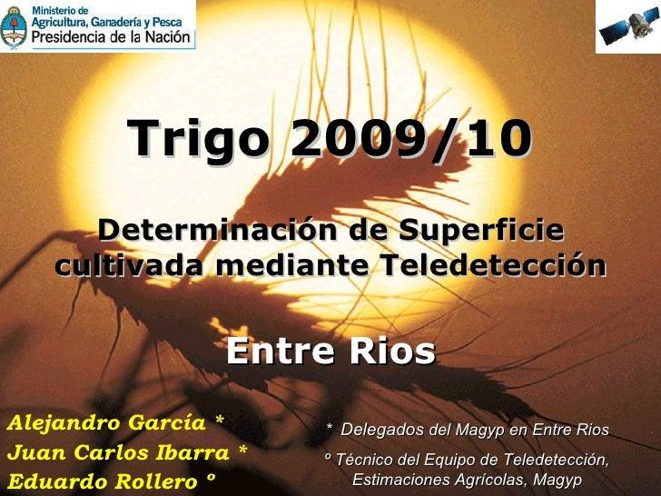 Trigo 2009/10 Determinación de Superficie cultivada mediante Teledetección Entre Rios *  Delegados  del Magyp en Entre Rio...