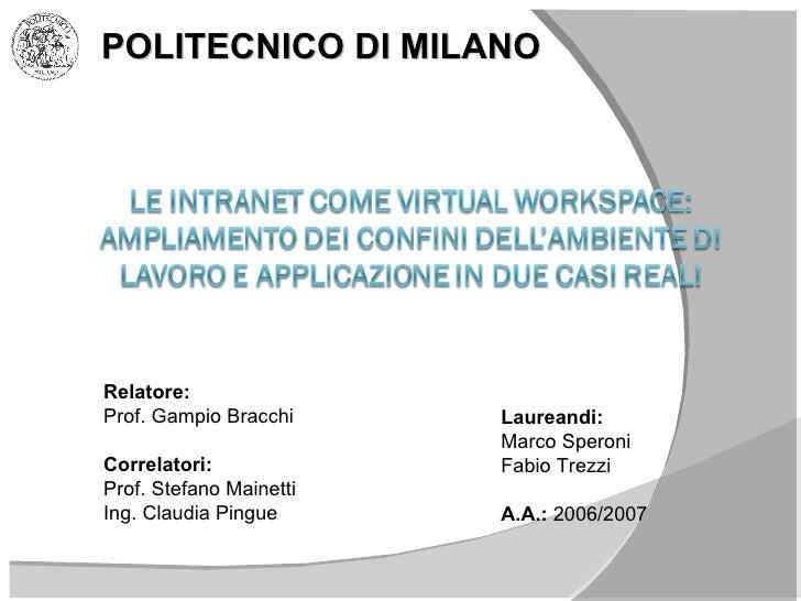 Le Intranet E Virtualworkspace Ampliamento Dei Confini