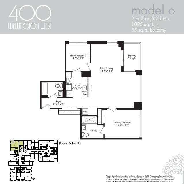 model o2 bedroom 2 bath 1085 sq.ft. + 55 sq.ft. balcony floors 6 to 10 q e efl mm n o p Prices and specifications are subjec...