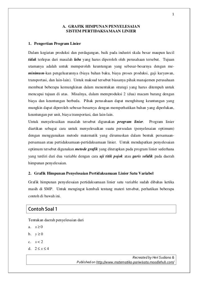 1 Recreated by Heri Sudiana & Published on http://www.matematika-pariwisata.moodlehub.com/ A. GRAFIK HIMPUNAN PENYELESAIAN...