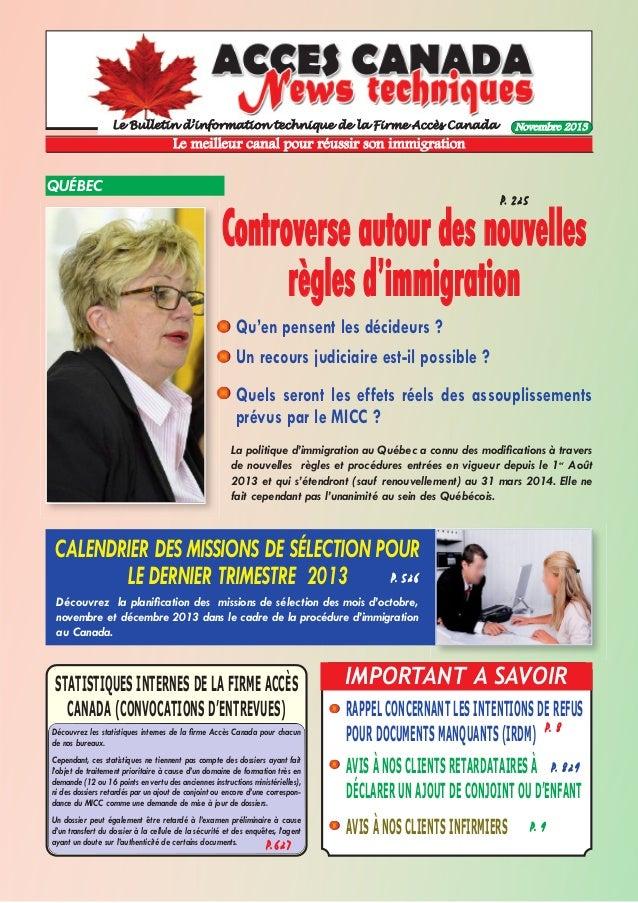 Le Bulletin d'information technique de la Firme Accès Canada  Novembre 2013  Le meilleur canal pour réussir son immigratio...