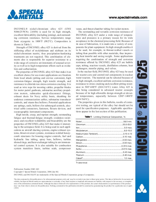 vanes, and thrust-chamber tubing for rocket motors. The outstanding and versatile corrosion resistance of INCONEL alloy 62...