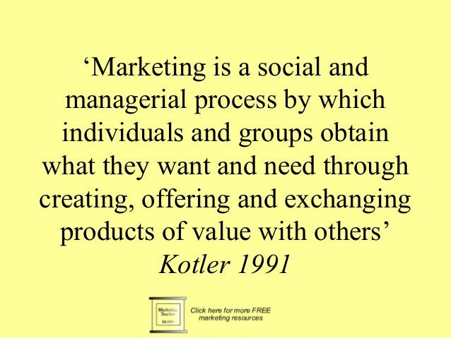 'Marketing is a social and  managerial process by which  individuals and groups obtain  what they want and need through  c...