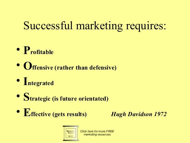 Successful marketing requires:  • Profitable  • Offensive (rather than defensive)  • Integrated  • Strategic (is future or...