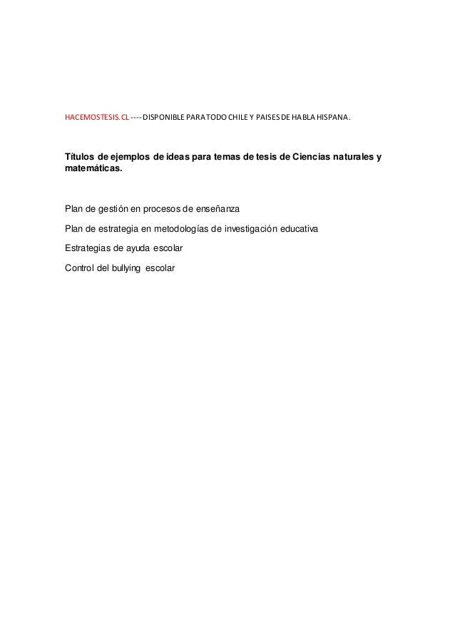 Temas para tesis de Ciencias naturales y matemáticas