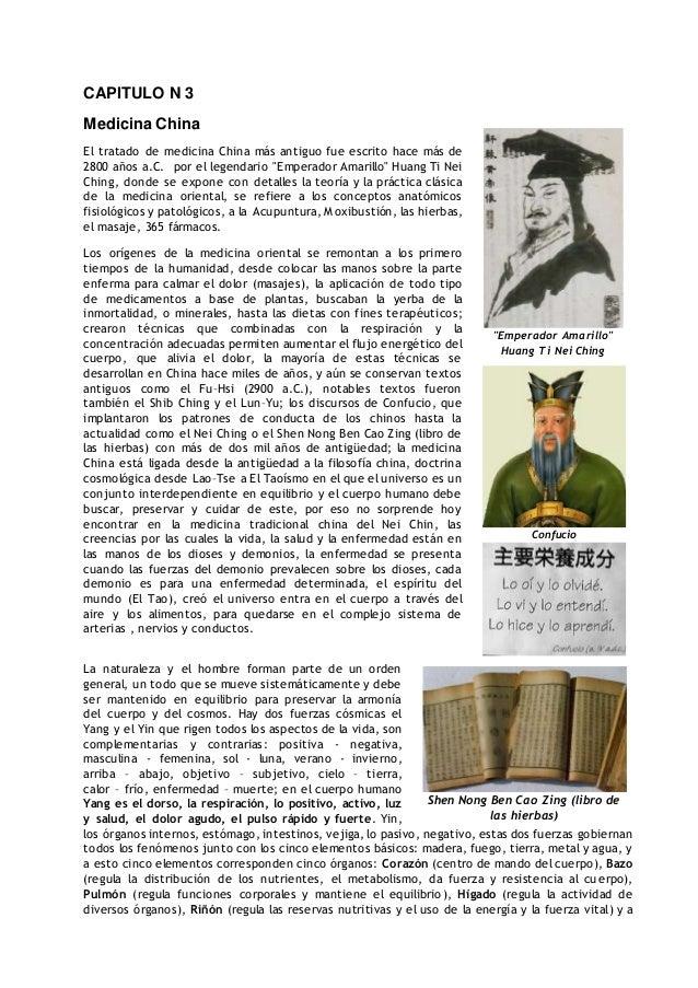 """Emperador Amarillo"" Huang Ti Nei Ching Confucio Shen Nong Ben Cao Zing (libro de las hierbas) dd CAPITULO N 3 Medicina Ch..."
