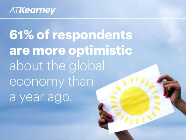 61% of respondents are more optimistic about the global economy than a year ago.