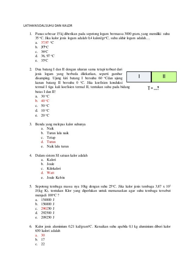 a latihan soal suhu dan kalor 1 638 - Kalor Jenis Air Dalam Satuan Joule
