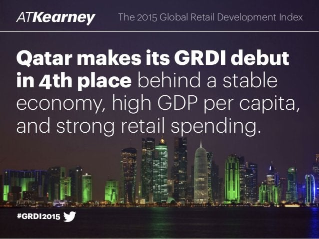 Qatar makes its GRDI debut in 4th place behind a stable economy, high GDP per capita, and strong retail spending. The 2015...