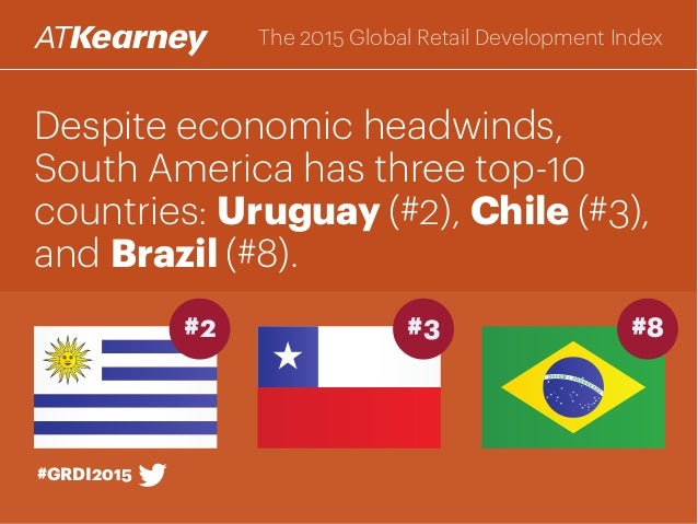 Despite economic headwinds, South America has three top-10 countries: Uruguay (#2), Chile (#3), and Brazil (#8). #GRDI2015...