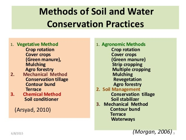 methods of oil conservation Some of the methods that must be adopted for conserving soil are as follows: 1 afforestation 2 checking overgrazing 3 constructing dams 4 changing agricultural practices soil conservation includes all those measures which help in protecting the soil from erosion and exhaustion soil erosion has.