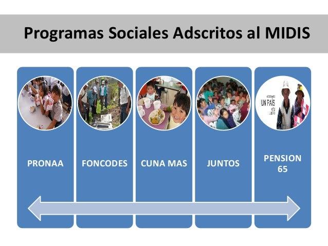 Programas Sociales Adscritos al MIDIS PRONAA FONCODES CUNA MAS JUNTOS PENSION 65