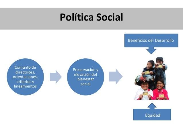 Conjunto de directrices, orientaciones, criterios y lineamientos Preservación y elevación del bienestar social Política So...