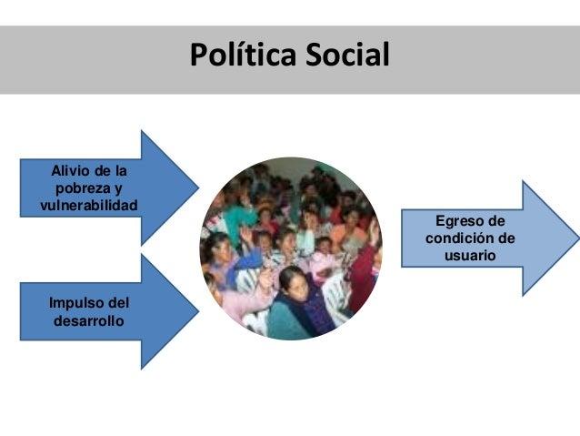 Política Social Beneficios del Desarrollo Alivio de la pobreza y vulnerabilidad Impulso del desarrollo Egreso de condición...