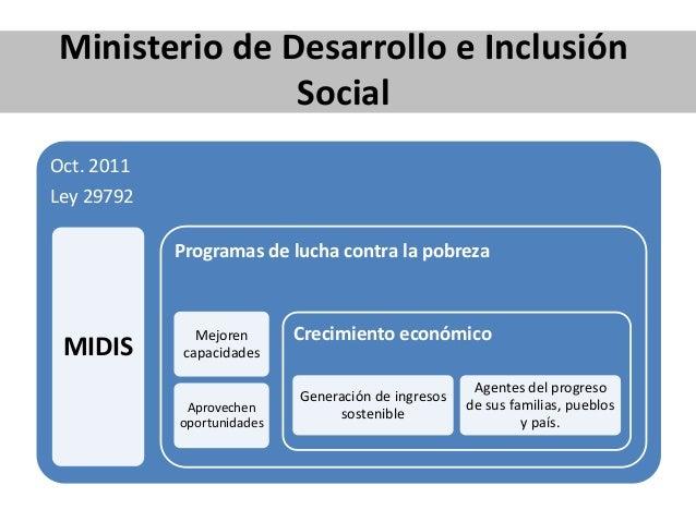 Ministerio de Desarrollo e Inclusión Social Oct. 2011 Ley 29792 MIDIS Programas de lucha contra la pobreza Mejoren capacid...
