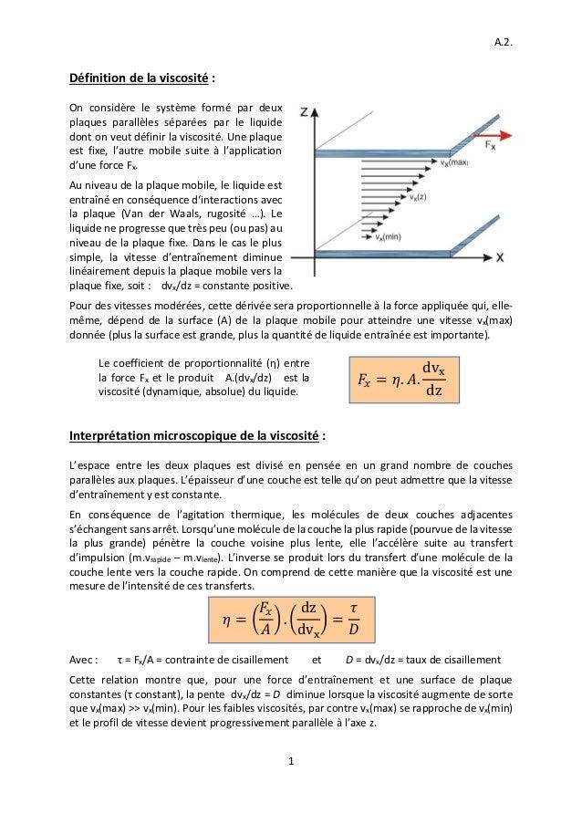 A.2. 1 Définition de la viscosité : On considère le système formé par deux plaques parallèles séparées par le liquide dont...