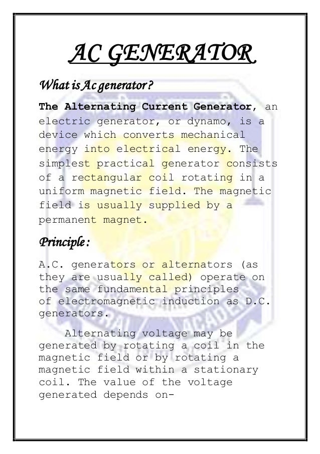 A. c. generator by sujay class 12th