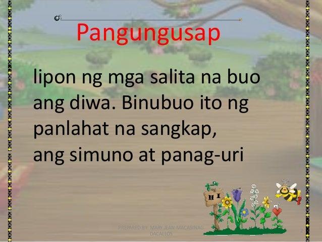 URI NG PANGUNGUSAP AYON SA GAMIT- FILIPINO GRADE 4 Slide 2