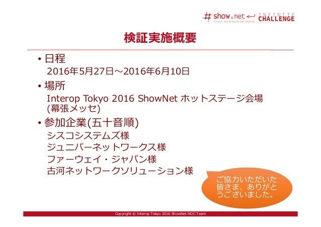 10Copyright © Interop Tokyo 2016 ShowNet NOC Team 検証実施概要 • 日程 2016年5月27日〜2016年6月10日 • 場所 Interop Tokyo 2016 ShowNet ホットステー...