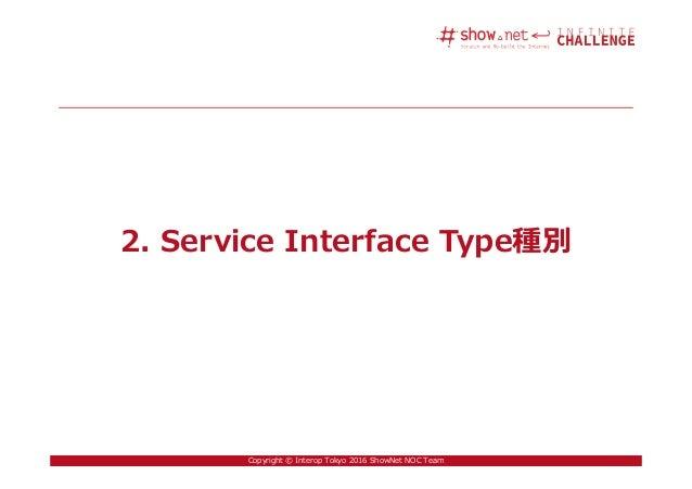 18Copyright © Interop Tokyo 2016 ShowNet NOC Team 2. Service Interface Type種別