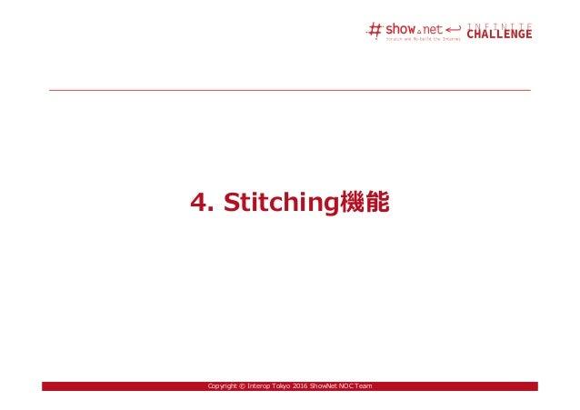 29Copyright © Interop Tokyo 2016 ShowNet NOC Team 4. Stitching機能