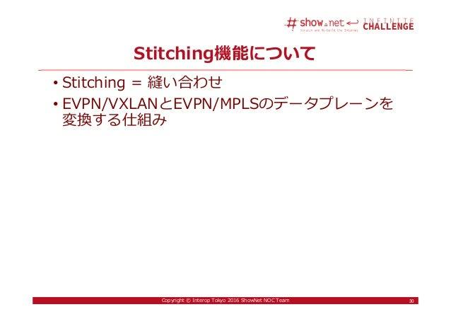 30Copyright © Interop Tokyo 2016 ShowNet NOC Team Stitching機能について 30 • Stitching = 縫い合わせ • EVPN/VXLANとEVPN/MPLSのデータプレーンを 変...
