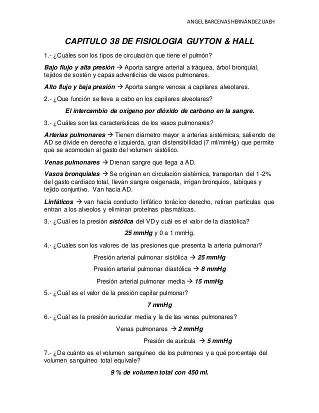 GUIA PARA EXAMEN. CAP. 38 DE FISIOLOGIA MEDICA GUYTON & HALL