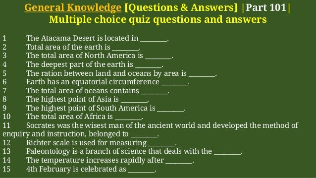 General Knowledge Multiple Choice Questions With Answers ...