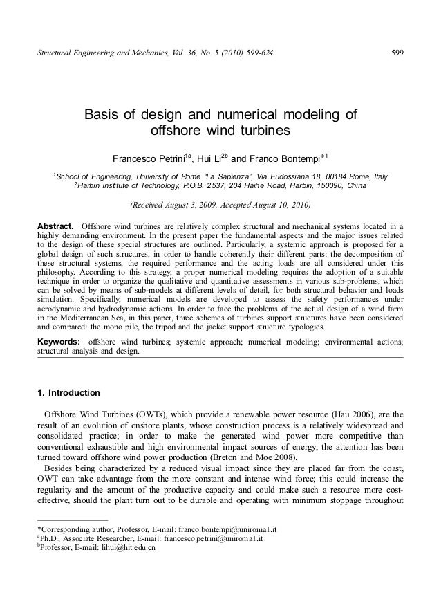 Structural Engineering and Mechanics, Vol. 36, No. 5 (2010) 599-624 599Basis of design and numerical modeling ofoffshore w...