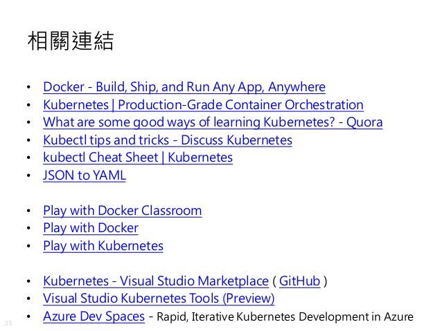 35 相關連結 • Docker - Build, Ship, and Run Any App, Anywhere • Kubernetes | Production-Grade Container Orchestration • What a...