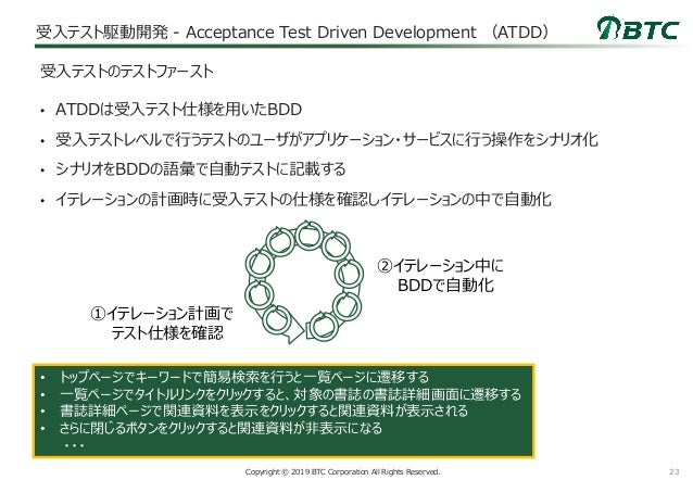 23Copyright © 2019 BTC Corporation All Rights Reserved. 受入テスト駆動開発 - Acceptance Test Driven Development (ATDD) • ATDDは受入テスト...