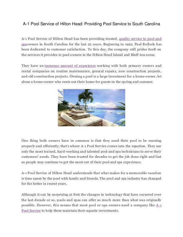 A-1 Pool Service of Hilton Head: Providing Pool Service to South Carolina A-1 Pool Service of Hilton Head has been providi...