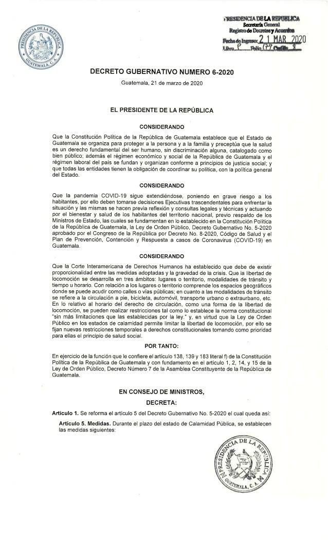 Decreto gubernativo 6-2020