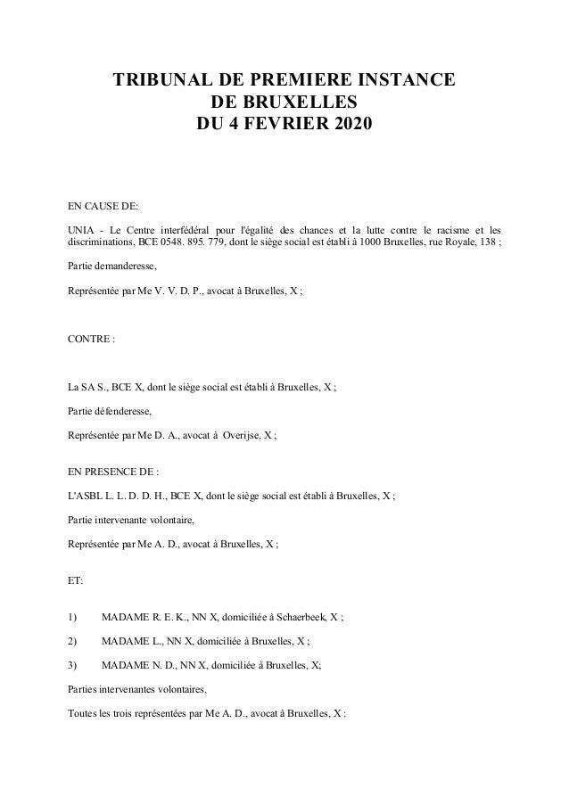 TRIBUNAL DE PREMIERE INSTANCE DE BRUXELLES DU 4 FEVRIER 2020 EN CAUSE DE: UNIA - Le Centre interf�d�ral pour l'�galit� des...