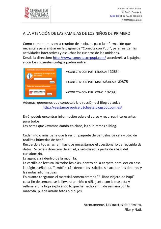 C.E.I.P. Nº 3 DE CHESTE C/ Ramón Codoñer 1. Tel:96 180 84 05 Fax:96 180 84 06 46032445@edu.gva.es A LA ATENCIÓN DE LAS FAM...
