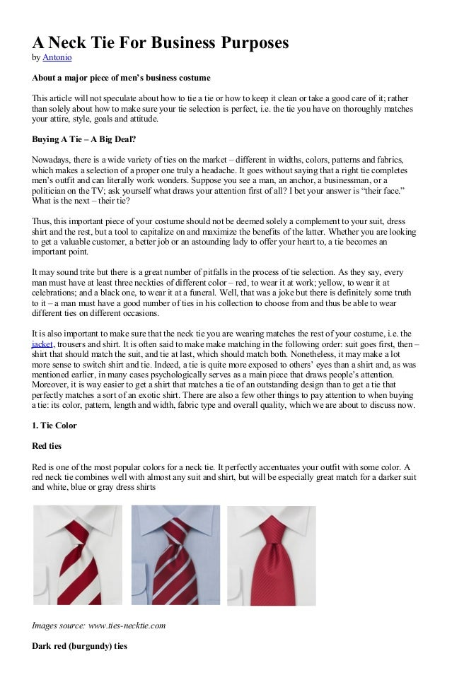 A neck tie for business purposes a neck tie for business purposes by antonio about a major piece of mens business costume ccuart Images