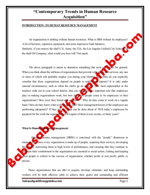 """""""Contemporary Trends in Human Resource Acquisition"""" Babasabpatilfreepptmba.com Page 1 INTRODUCTION: TO HUMAN RESOURCE MANA..."""